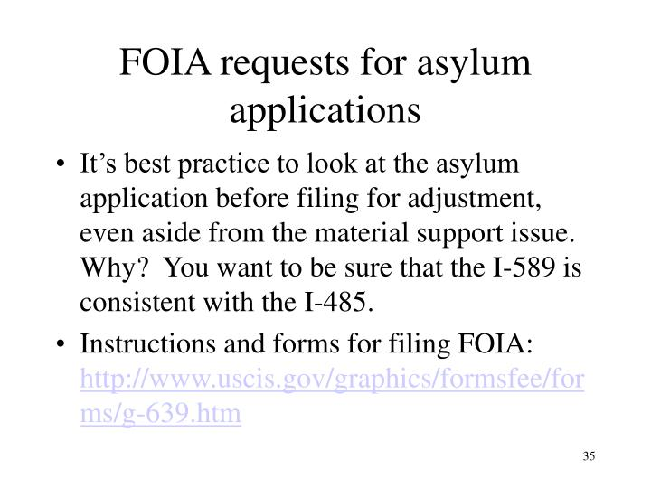 FOIA requests for asylum applications