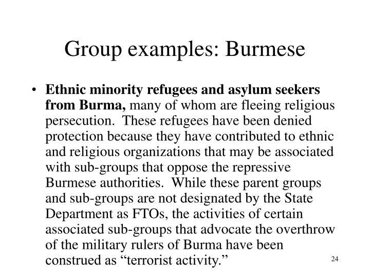Group examples: Burmese