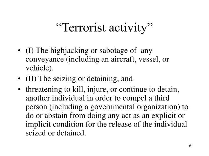 """""""Terrorist activity"""""""