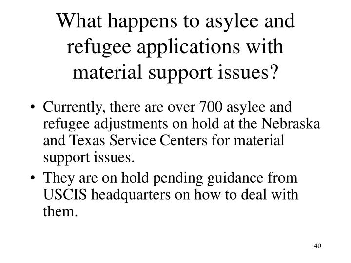What happens to asylee and refugee applications with material support issues?