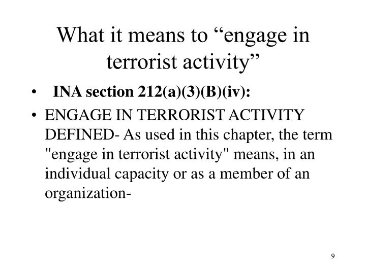 """What it means to """"engage in terrorist activity"""""""