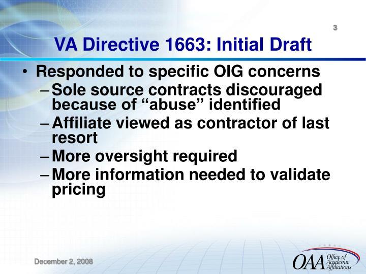 VA Directive 1663: Initial Draft