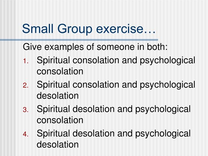 Small Group exercise…
