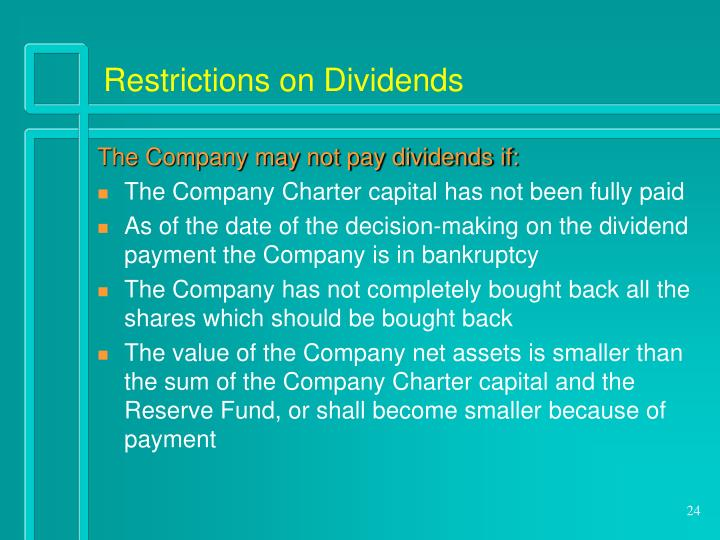 Restrictions on Dividends