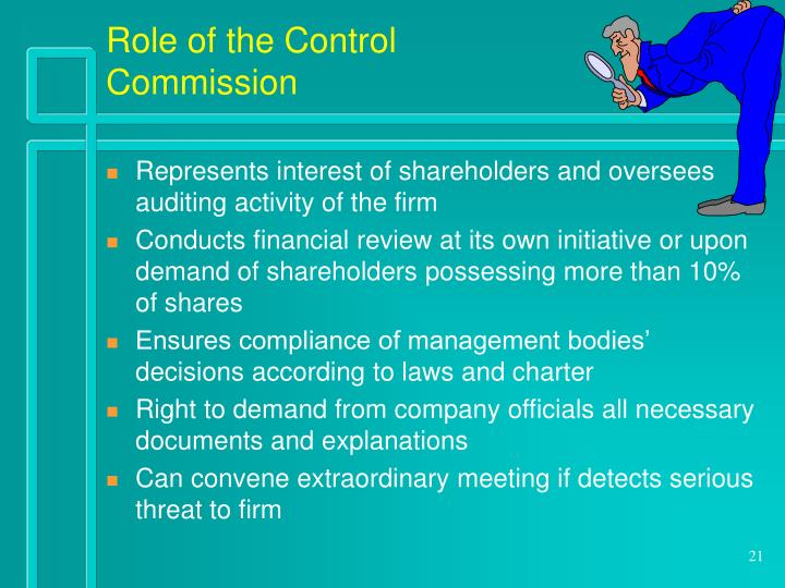 Role of the Control Commission