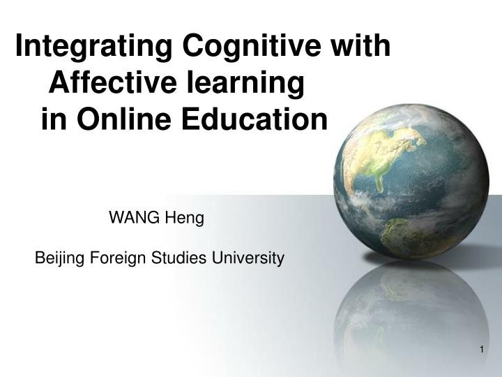 Integrating cognitive with affective learning in online education