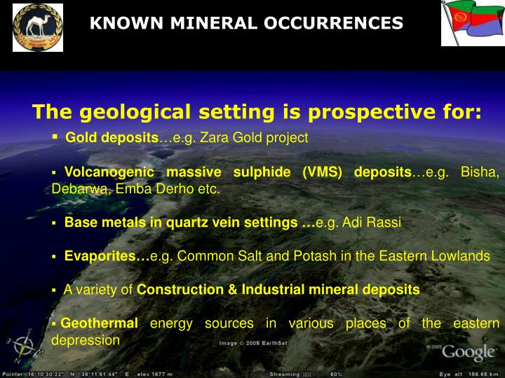 KNOWN MINERAL OCCURRENCES