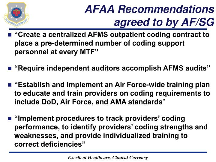 AFAA Recommendations