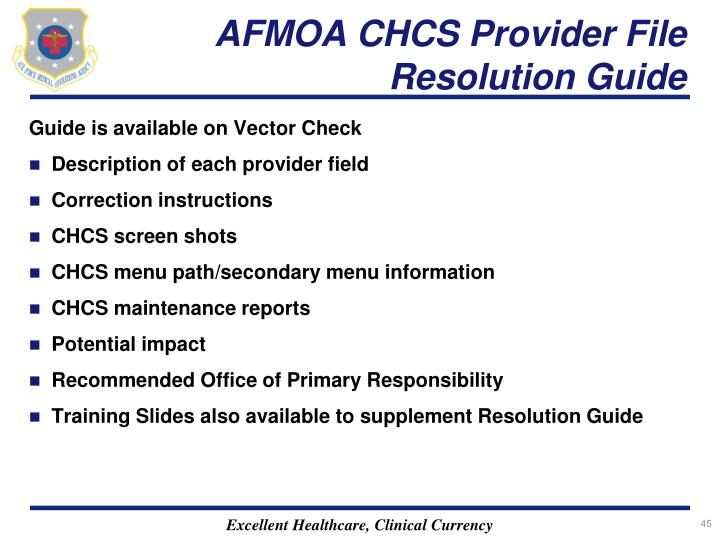 AFMOA CHCS Provider File Resolution Guide