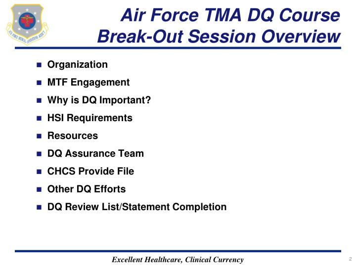 Air Force TMA DQ Course Break-Out Session Overview