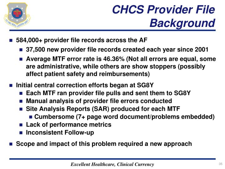 CHCS Provider File Background