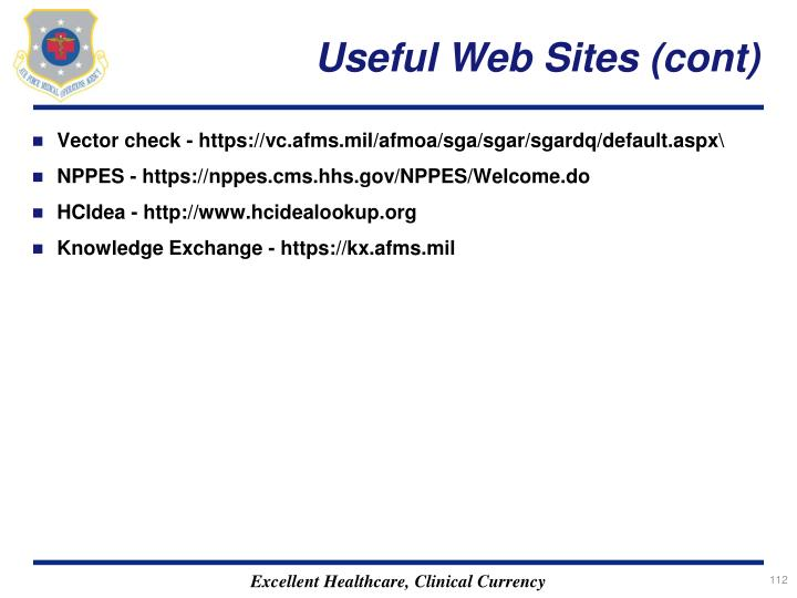 Useful Web Sites (cont)