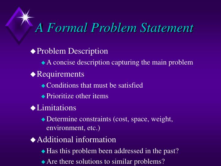 A Formal Problem Statement
