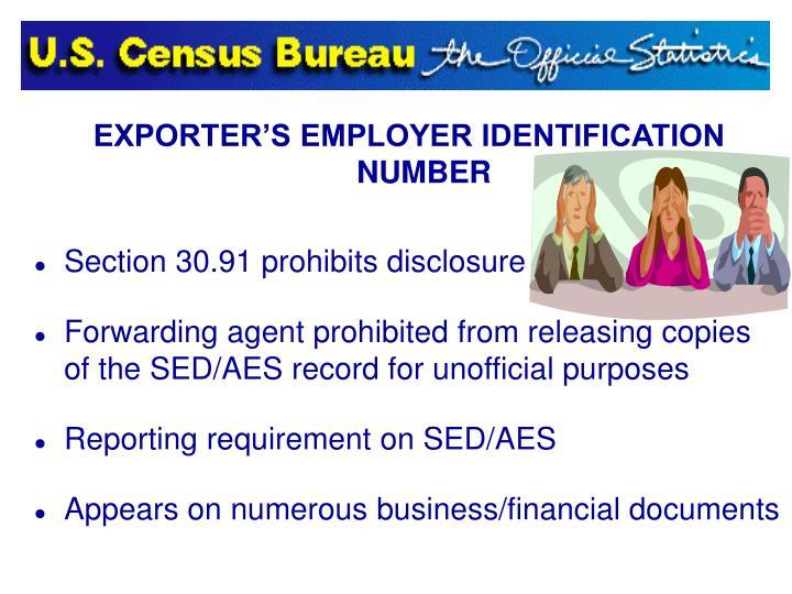 EXPORTER'S EMPLOYER IDENTIFICATION NUMBER