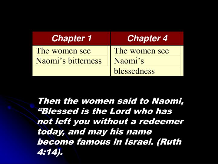 "Then the women said to Naomi, ""Blessed is the Lord who has not left you without a redeemer today, and may his name become famous in Israel. (Ruth 4:14)."