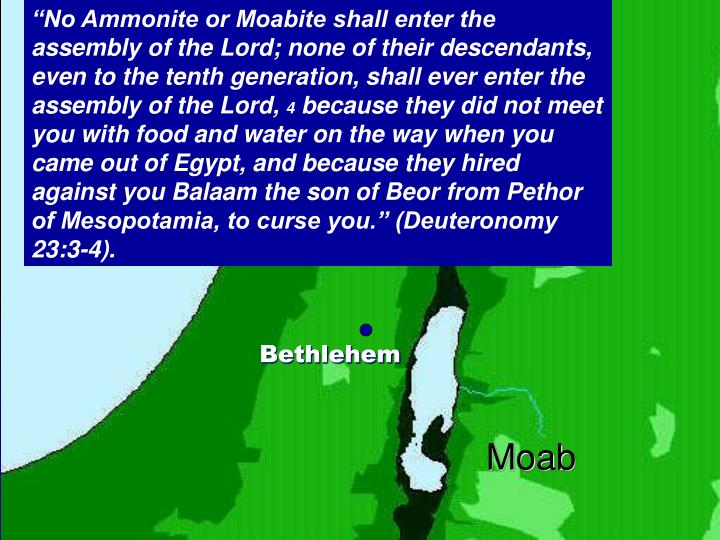 """No Ammonite or Moabite shall enter the assembly of the Lord; none of their descendants, even to the tenth generation, shall ever enter the assembly of the Lord,"