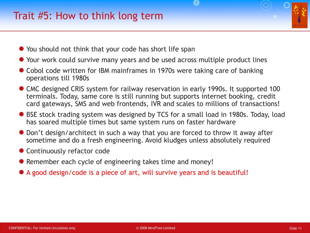 Trait #5: How to think long term