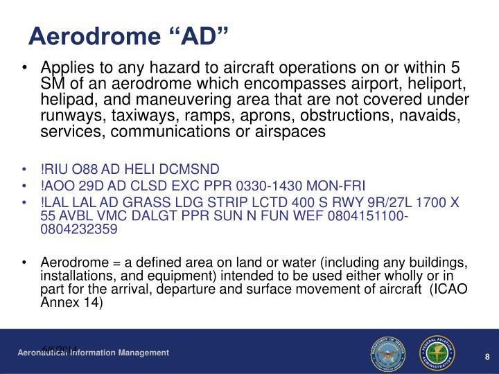 "Aerodrome ""AD"""