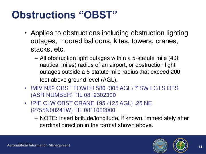 "Obstructions ""OBST"""