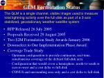 glm formulation status