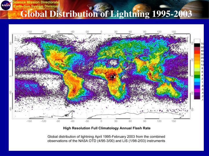 Global Distribution of Lightning 1995-2003