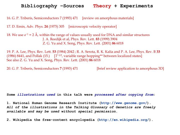Bibliography –Sources