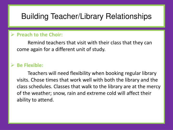Building Teacher/Library Relationships