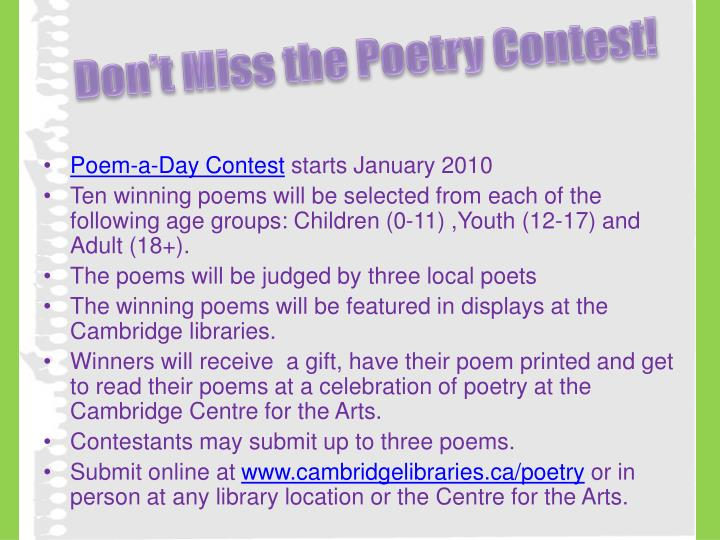 Don't Miss the Poetry Contest!