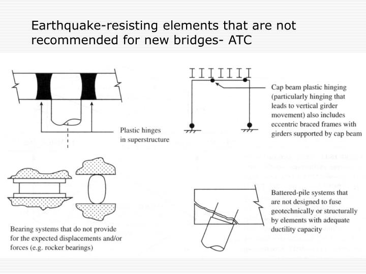 Earthquake-resisting elements that are not recommended for new bridges- ATC