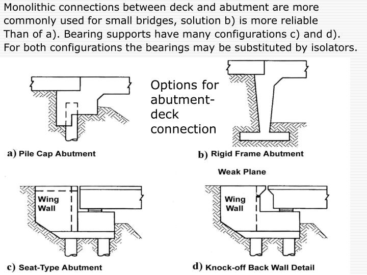 Monolithic connections between deck and abutment are more
