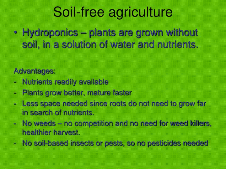 Soil-free agriculture