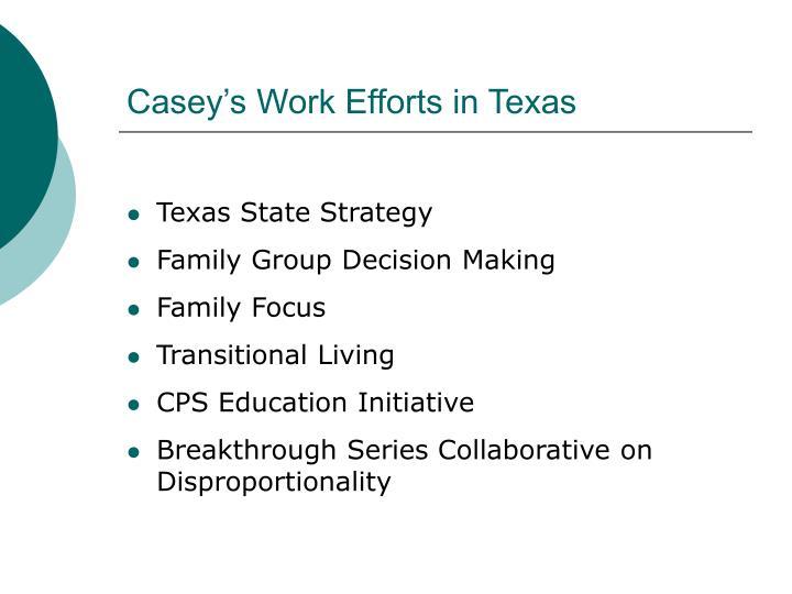 Casey's Work Efforts in Texas