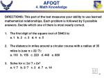 afoqt 4 math knowledge