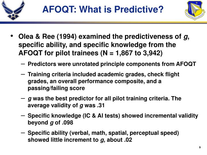 AFOQT: What is Predictive?