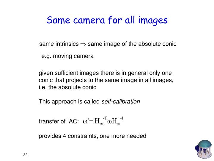 Same camera for all images