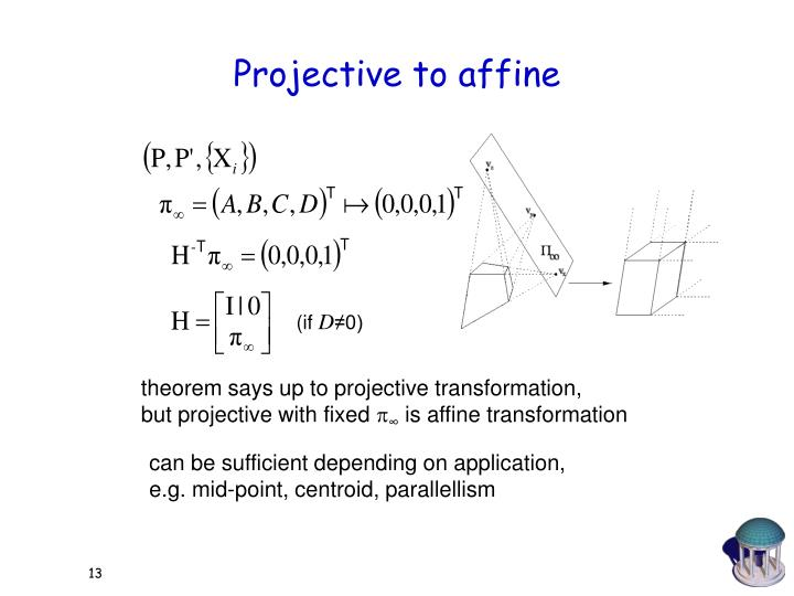 Projective to affine