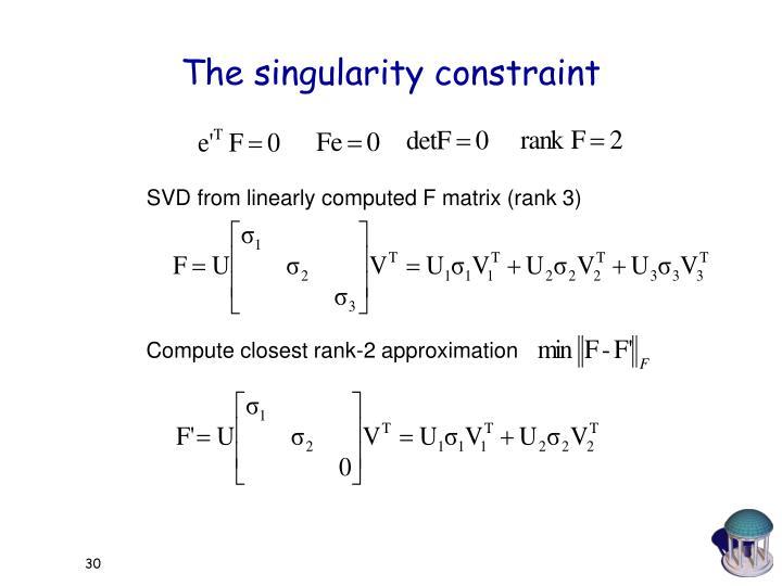 The singularity constraint