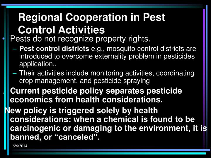 Regional Cooperation in Pest Control Activities