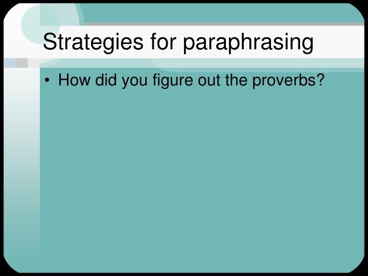 Strategies for paraphrasing