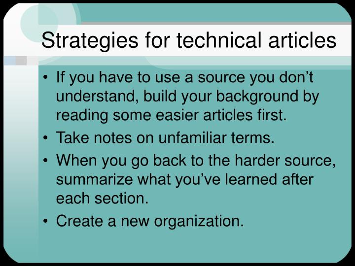 Strategies for technical articles