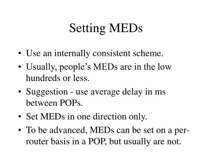 Setting MEDs