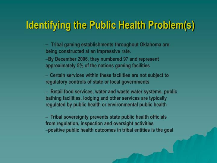 Identifying the public health problem s