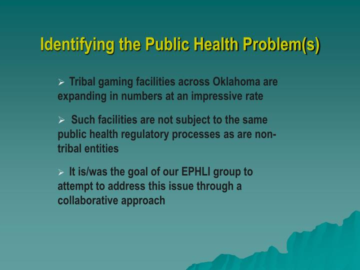 Identifying the Public Health Problem(s)