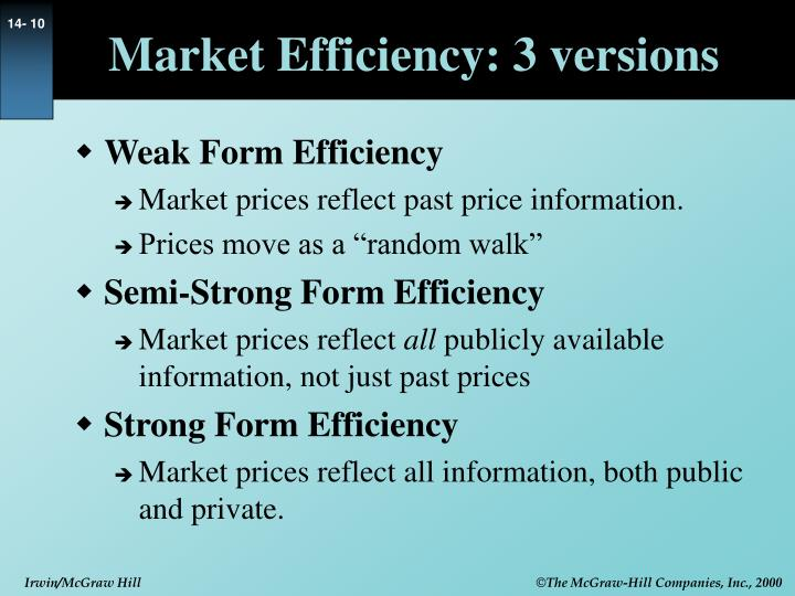 Market Efficiency: 3 versions