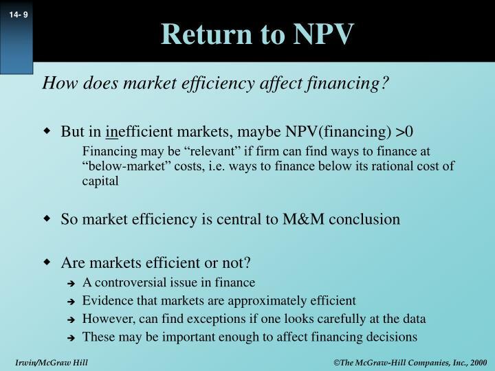 Return to NPV