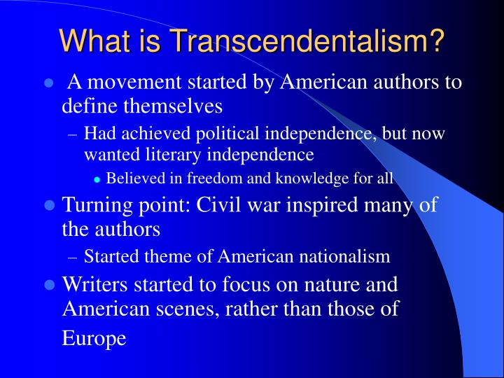 understanding transcendentalism Welcome to prezi, the presentation software that uses motion, zoom, and spatial relationships to bring your ideas to life and make you a great presenter.