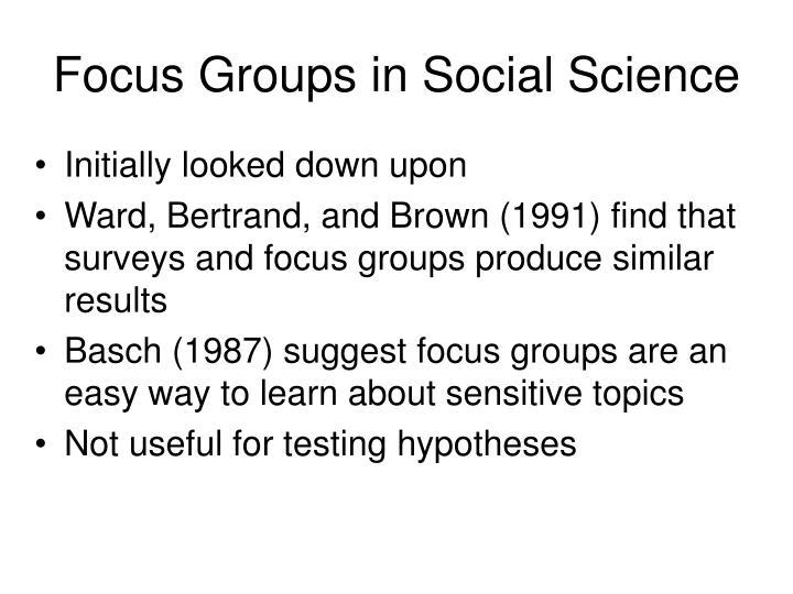 Focus Groups in Social Science