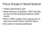 focus groups in social science