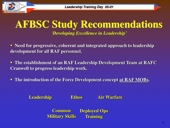 AFBSC Study Recommendations