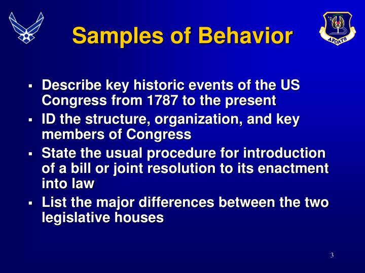 Samples of Behavior